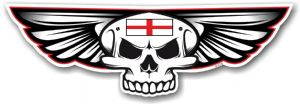 Gothic Skull With Wings With English St Georges Cross Flag Retro Biker Vinyl Car Sticker 125x40mm